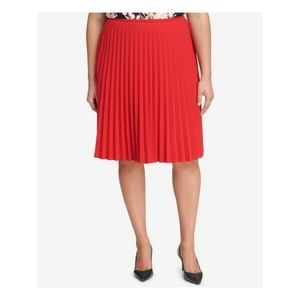 NEW Calvin Klein Accordion Pleated Skirt Red CK